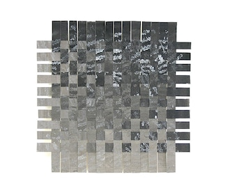 Ombre Paper Weaving- 9x9- Black, Grey- Original Mixed Media- Watercolor, Acrylic, Colored Pencil