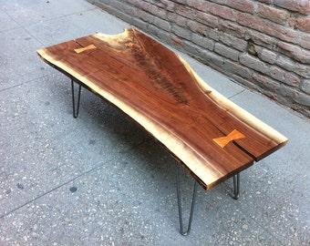 SOLD - Highly Figured Black Walnut, Live Edge Wood Coffee Table