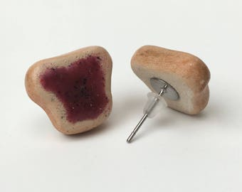 Tiny Blackcurrant Jam on Toast Stud Earrings, Polymer Clay, Miniature food