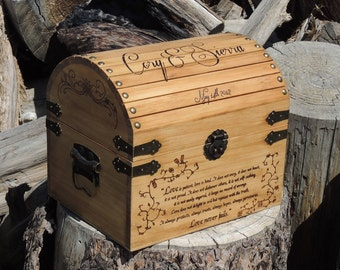 Small Time Capsule / Keepsake Box Wood Burned Custom Pyrography