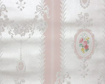 1940s Vintage Wallpaper by the Yard - Pink and White Victorian Floral Stripe