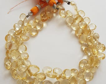 Citrine Faceted Heart Beads -- Citrine Briolette -- 6mm to 9mm