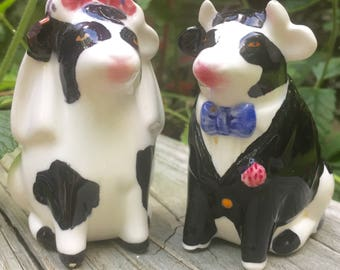 ON SALE Bride Groom Cow Salt and Pepper Shakers Newlywed Shakers from Mid-Century Vintage