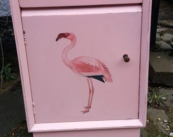 Vintage pink painted bedside cabinet with flamingo decoupage design in aid of breast cancer awareness month