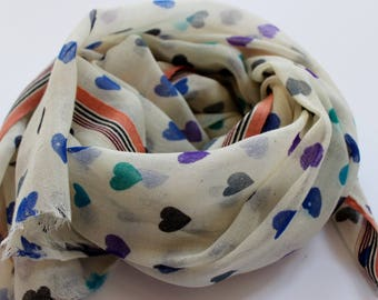 Valentine gift scarf - winter wool scarf with hearts - heart scarf by Mayil