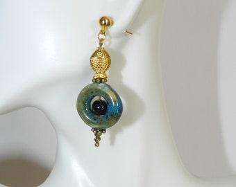 Gold Fishy Earrings A02685