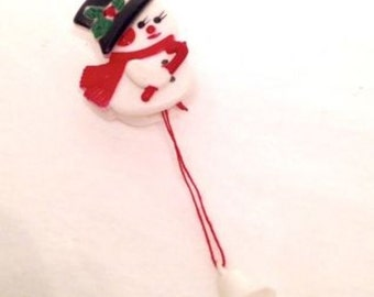 retro kitschy Christmas brooch, whimsical novelty snowman pin, movable arms, tipping hat, snow man fun stocking stuffer; yesteryears gadget