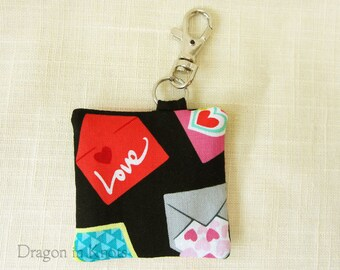 Love Letter Earbud Pouch - Earplug Case Holder, Keychain Pocket - Gadget Cord Organizer - black, red, pink, blue romantic key ring