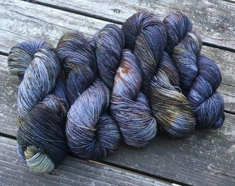 Harry Potter/Hogwarts Castle yarn: sock/fingering/4 ply hand dyed indie yarn in grey/copper/moss/brown