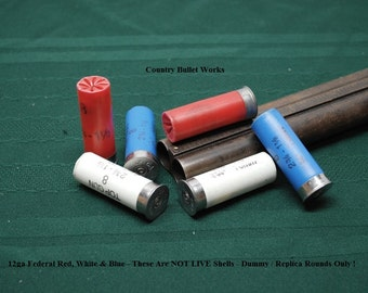 Dummy / Replica - 12ga Federal Red, White & Blue Shotgun Shells - Lot of 6 - Perfect for Crafts, Displays, Photo Props