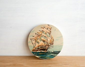 Paint by Number Circle Art Block 'Tall Ship' - seascape, sailing, vintage art