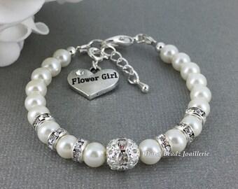Flower Girl Bracelet Flower Girl Jewelry Flower Girls Gift Flower Girl Pearl Bracelet Pearl Jewelry for Flower Girl Wedding Bridal Party