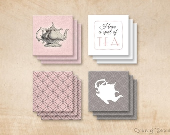 Printable 2x2 Party Squares Favor Tags - Antique Teapot - Tea Party Victorian Vintage Cottage, Pink Grey Gray Brown White