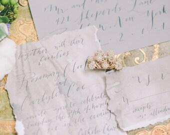 Hand Torn Aged Paper Calligraphy Wedding Invitation with Deckled Edge Grey Invitation Romantic Invitation