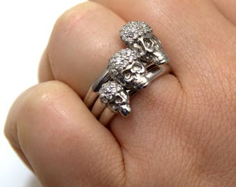 Skull Ring Stacker Ring 9ct Gold Diamond set Handmade White Yellow & Rose Gold UK Hallmarked