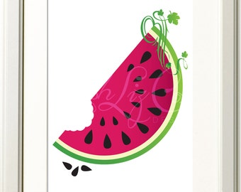 Watermelon Illustration 8x10 Print
