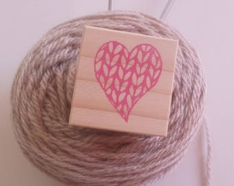 Hand-knitted heart engraved stamp / Knitted heart handcarved rubber stamp set