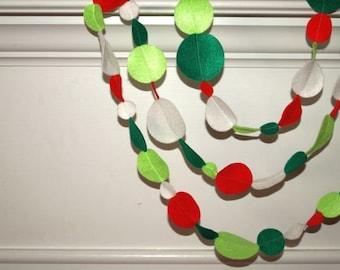 SALE Felt Garland Christmas Red, Green and White Eco Friendly Felt