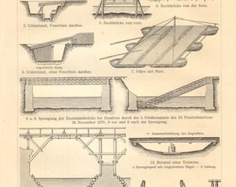 1909 Pioneering Vintage Engraving Print