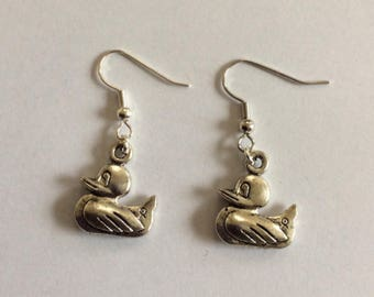 Ducks silver-colored earrings