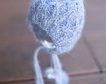 Light gray - blue stream newborn bonnet. Baby photo prop. Newborn bonnet with structural pattern.