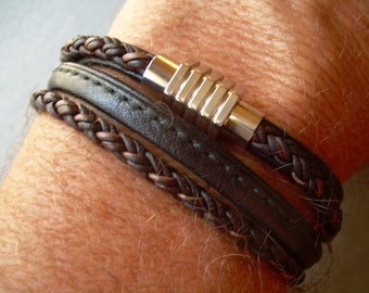 Men Leather Bracelet with Stainless Steel Magnetic Clasp Mens Bracelets Leather Leather Bracelet Braided Mens Jewelry Gift for him