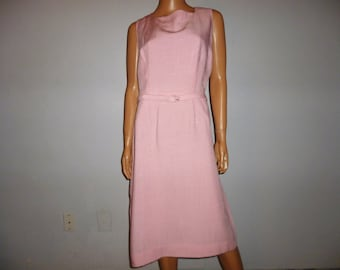 """Pretty in PINK - Vintage 1950's or 60's - Belted - Pastel PINK - Linen - Shift - Wiggle - Dress with Matching Crop Jacket - bust size 42"""""""