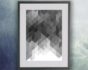 Poster, Scandinavian Style Mono Geometric Print, Wall Art, Home Decor, Modern Print UNFRAMED