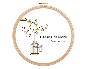 Life Begins Where Fear Ends - Cross stitch pattern PDF, Osho Quote Pattern, Famous Quote Art, Inspiring Quote, Birdcage Pattern