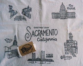 Greetings from Sacramento Tea Towel - 100% Cotton hand printed linocut sack dish towel, Off White