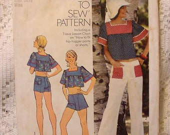 Vintage 1974 Simplicity 6280 Crop Smock Top and Hipp Hugger Bell Bottom Pants or Shorts Size 10