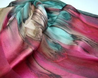 Chestnut Dark Red Dark Green Antelope Hand Dyed Silk Scarf