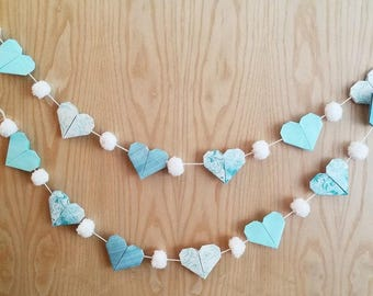 Blue Hearts and White Pom Pom Garland
