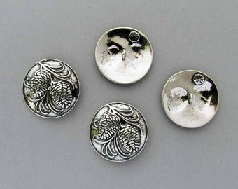 Sterling Silver Pine Cones Button, 1 Button, Shank Button, Made in USA, RobertWGilmore, Jewelry Making, Collectible Button, Knitting, Sewing