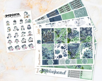 Floral Glitter set / kit weekly stickers Popcorn the Unicorn - for Erin Condren VERTICAL Planner - spring summer watercolor