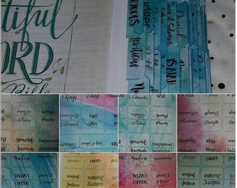 Double sided-PRINTABLE- Bible Tabs-teal