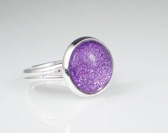 Lavender Purple Glitter Nail Polish Ring Tru Passion Sparkle Adjustable Ring Jewelry