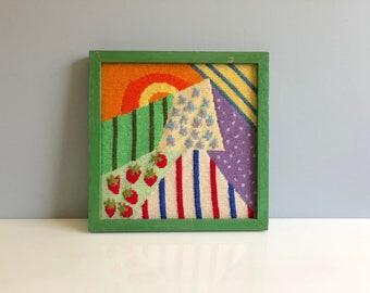 Colorful Sunshine Needlepoint Wall Hanging, Geometric Colorful Needlepoint