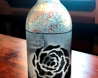 Wine Art Bottle - Decorative Clear Stenciled Bottle - Hand Crafted - Great Gift!