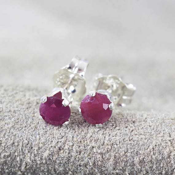 Ruby Earrings - Precious Stone Studs