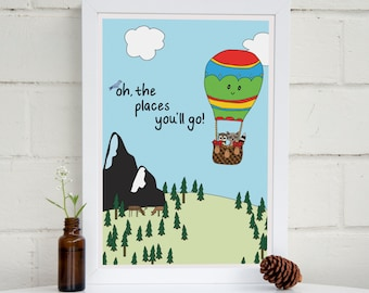 Oh The Places You'll Go Print | Dr Suess Quote | Nursery Wall Art | Hot Air Balloon | Boys Room | Girls Room | Woodland Nursery