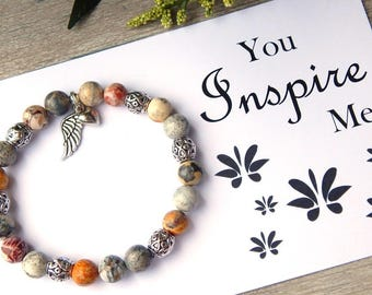 Card, Spiritual Jewelry, Inspirational Gift, Angel Wing Bracelet, Gift for Teacher, Gift for Daughter, Angel Wings, Gift for Her