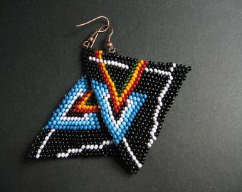 FREE SHIPPING.Pink Floyd.Triangle earrings.Black/dangle/long/huge/normcore/colorful/unique/beaded/beadwork/minimalist/casual/tribal/matte