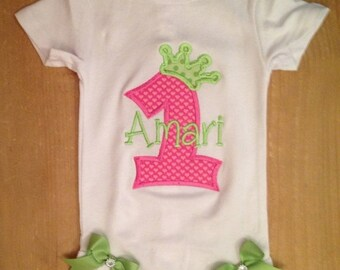 Pink and Green Birthday Princess Baby Bodysuit or Shirt