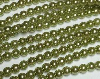 120 4mm Round Preciosa glass pearls, olivine green