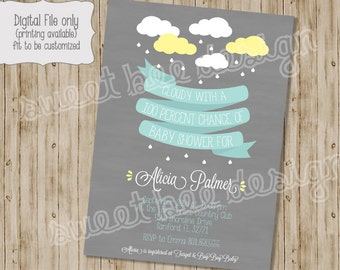 Raining Baby Shower Invitation, Baby Shower Invitation, Boy Baby Shower, Girl Baby Shower, Spring Baby Shower, Rain Baby Shower Invitation