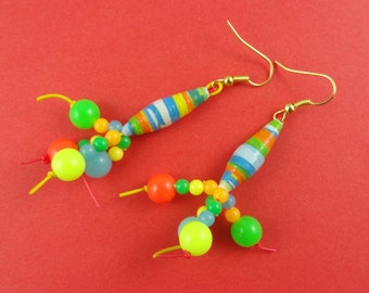 Colourful Abstract Earrings - multi coloured, dangly earrings, made with paper beads - quirky funky weird alien silly retro Harajuku Decora