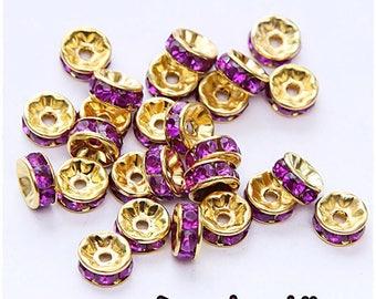 10-pcs-Pearl rondelle spacer 8 mm gold metal rhinestone purple / mauve 8mm