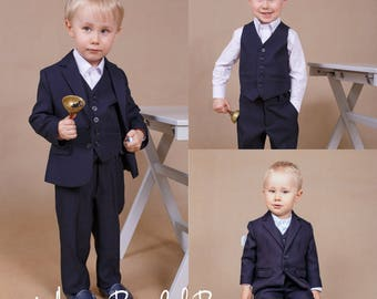Ready to ship 5T Ring bearer outfit Boy wedding suit Boy navy suit Wedding boy outfit Ring bearer suit Wedding suit Boy vest Wedding outfit