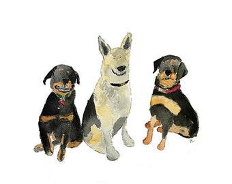 Watercolor Pet Portrait - 3 pets custom 5 x 7 or 8 X 10